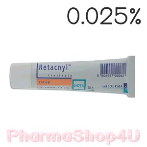 Retacnyl Cream Tretinoin 0.025% 30G รีแทคนิล ครีม รักษาสิว ช่วยผลัดเซลล์ผิว พร้อมเพิ่มความชุ่มชื้นด้วย สคอวรีน กรีเซอรีน