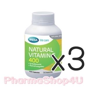(ซื้อ3 ราคาพิเศษ) Mega We Care Vitamin E 400IU 30เม็ด บำรุงสุขภาพ ผิวพรรณให้สวยสดใส ลดริ้วรอยแห่งวัย