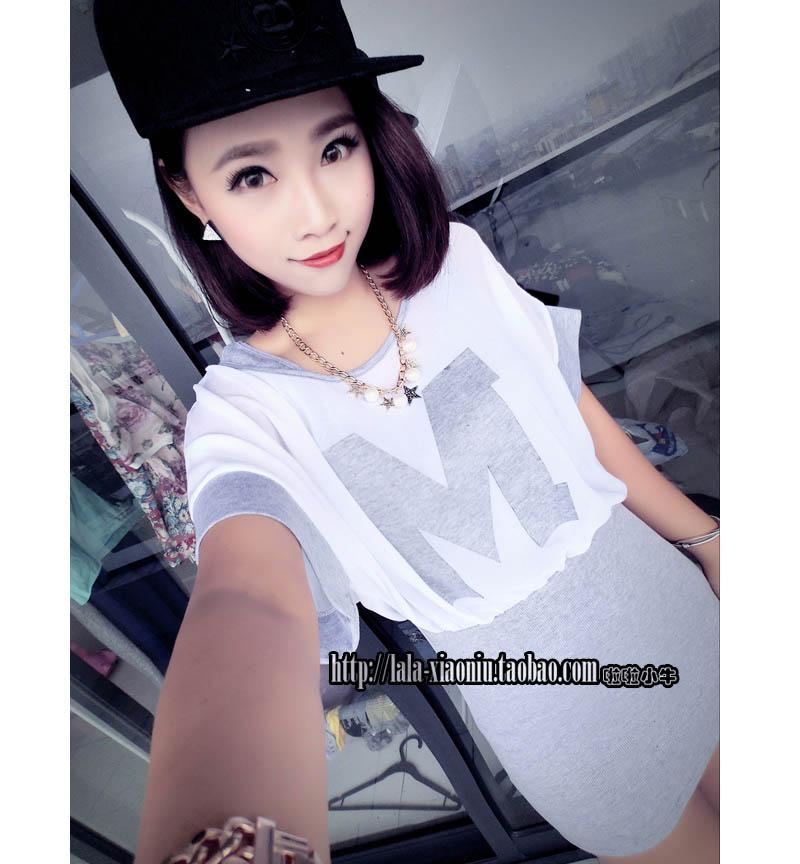 (SALE) เสื้อผ้าฝ้าย + ชีฟอง ลาย M สีเทา