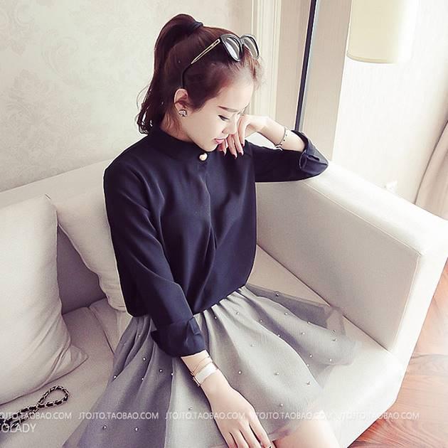 เสื้อแฟชั่น คอปีน แขนยาว แต่งหมุด สีดำ