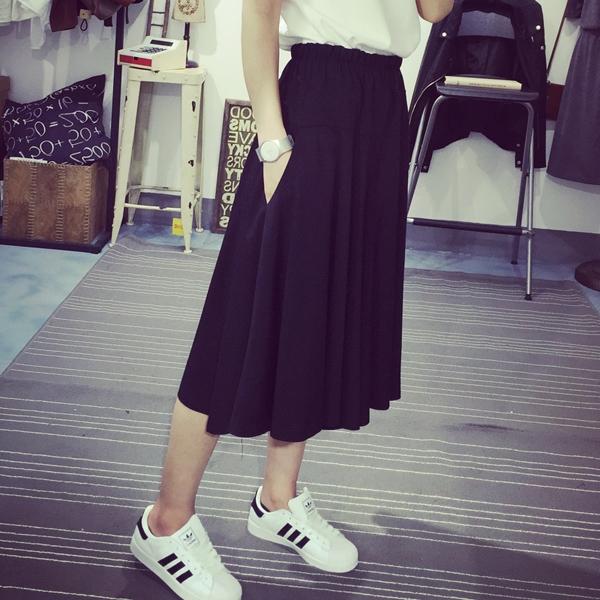 กางเกงแฟชั่น ขาใหญ่ ขา4ส่วน เอวสม๊อค สีดำ