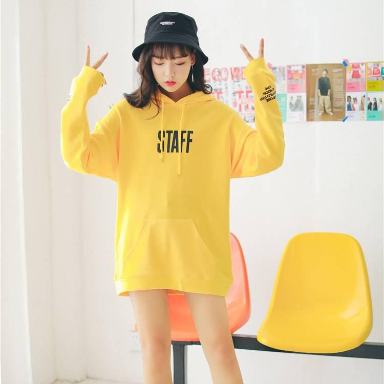 เสื้อแฟชั่น มีฮูด แขนยาว ลาย STAFF สีเหลือง