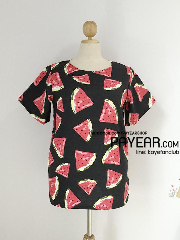 เสื้อ ผ้ามิรินพิมพ์ลายแตงโม สีดำ อก 48 นิ้ว