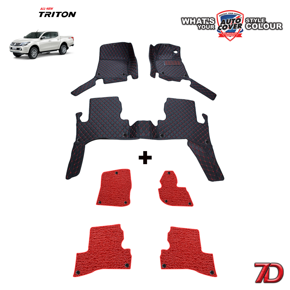 พรมรถยนต์ 7 D Anti Dust รถ MITSUBISHI ALL NEW TRITON 4 DOOR ปี 2015-2019 จำนวน 3+4 ชิ้น