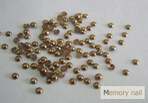 หมุดติดเล็บ กลม สีทองเข้ม ขนาด 2 มิล,หมุดติดเล็บ