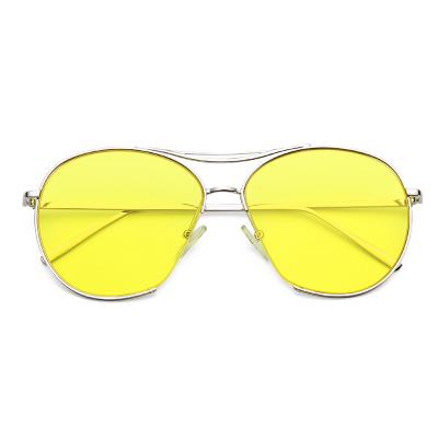 แว่นตา ฮาราจูกุ (Harajuku) สีเหลือง กรอบสีิเงิน (UV400)