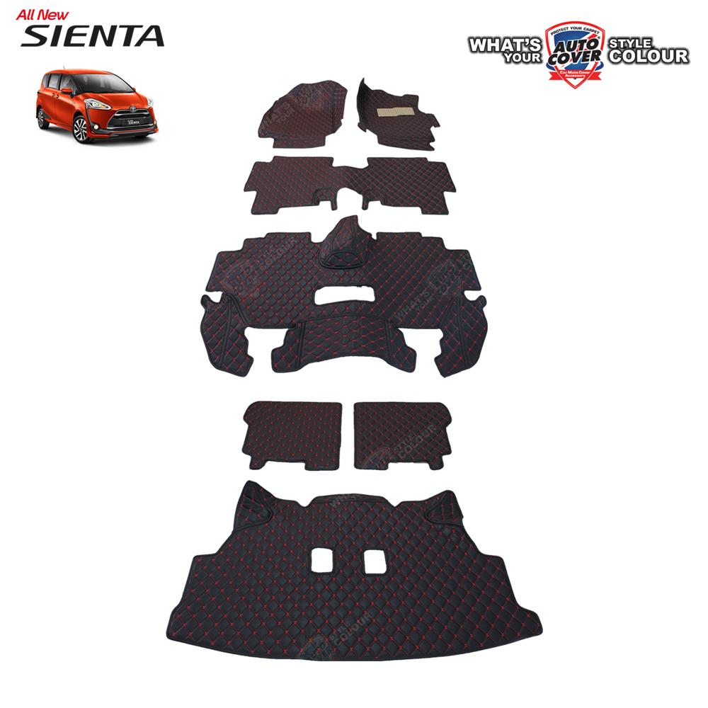 พรมรถยนต์ 6D Leather Car Mat จำนวน 7 ชิ้น TOYOTA SIENTA