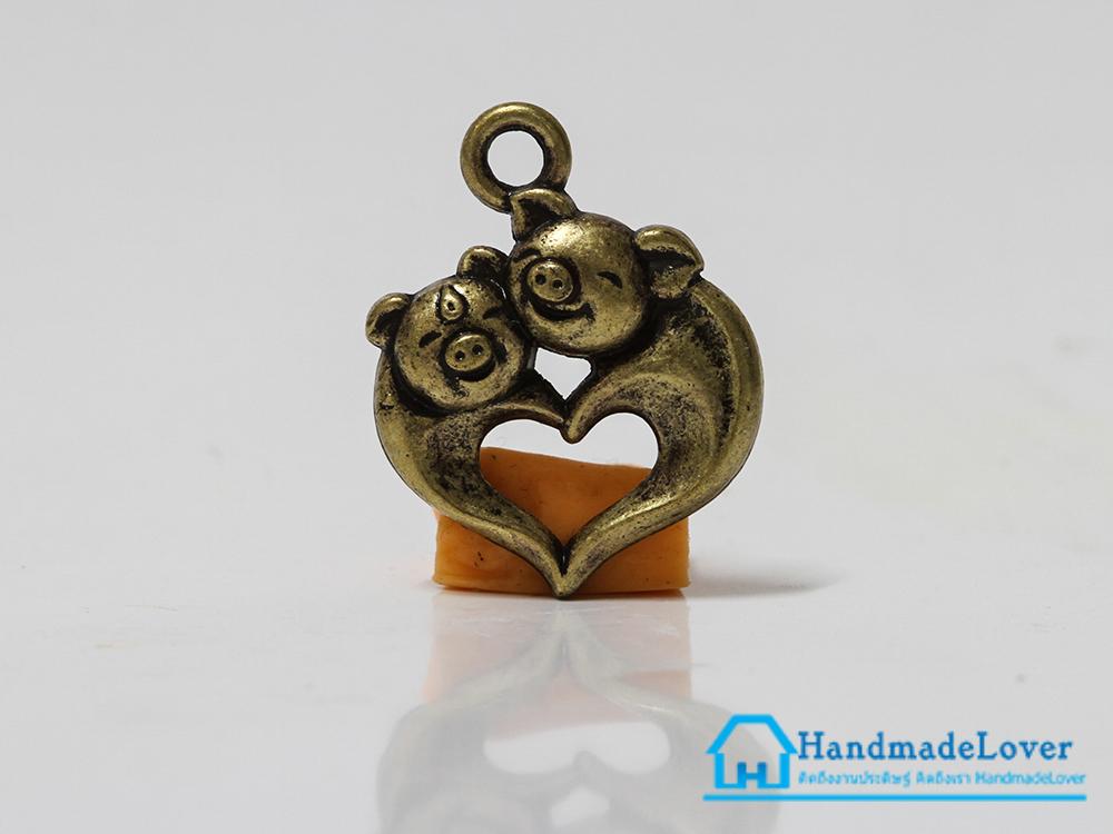 จี้โลหะ สีทองรมดำ หมูคู่รัก รูปหัวใจ