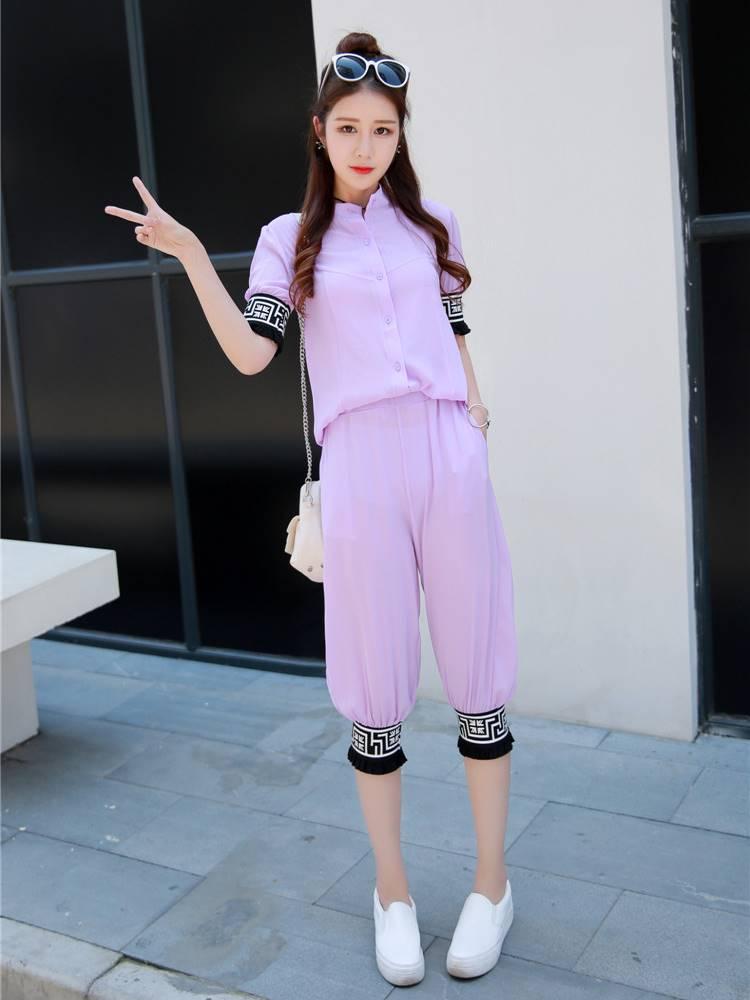 ชุด 2 ชิ้น เสื้อแฟชั่น คอปีน แขนจั๊ม + กางเกง3 ส่วน สีม่วง