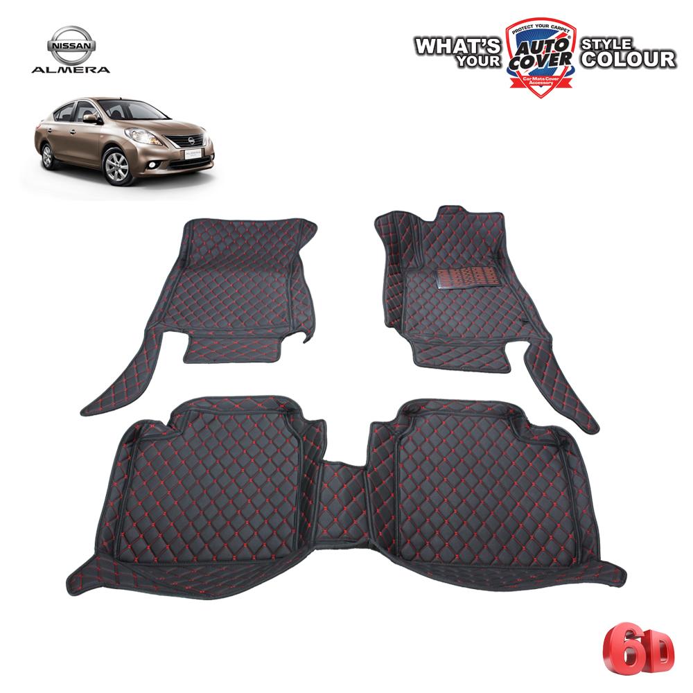 พรมเข้ารูป 6 D Leather Car Mat จำนวน 3 ชิ้น NISSAN ALMERA