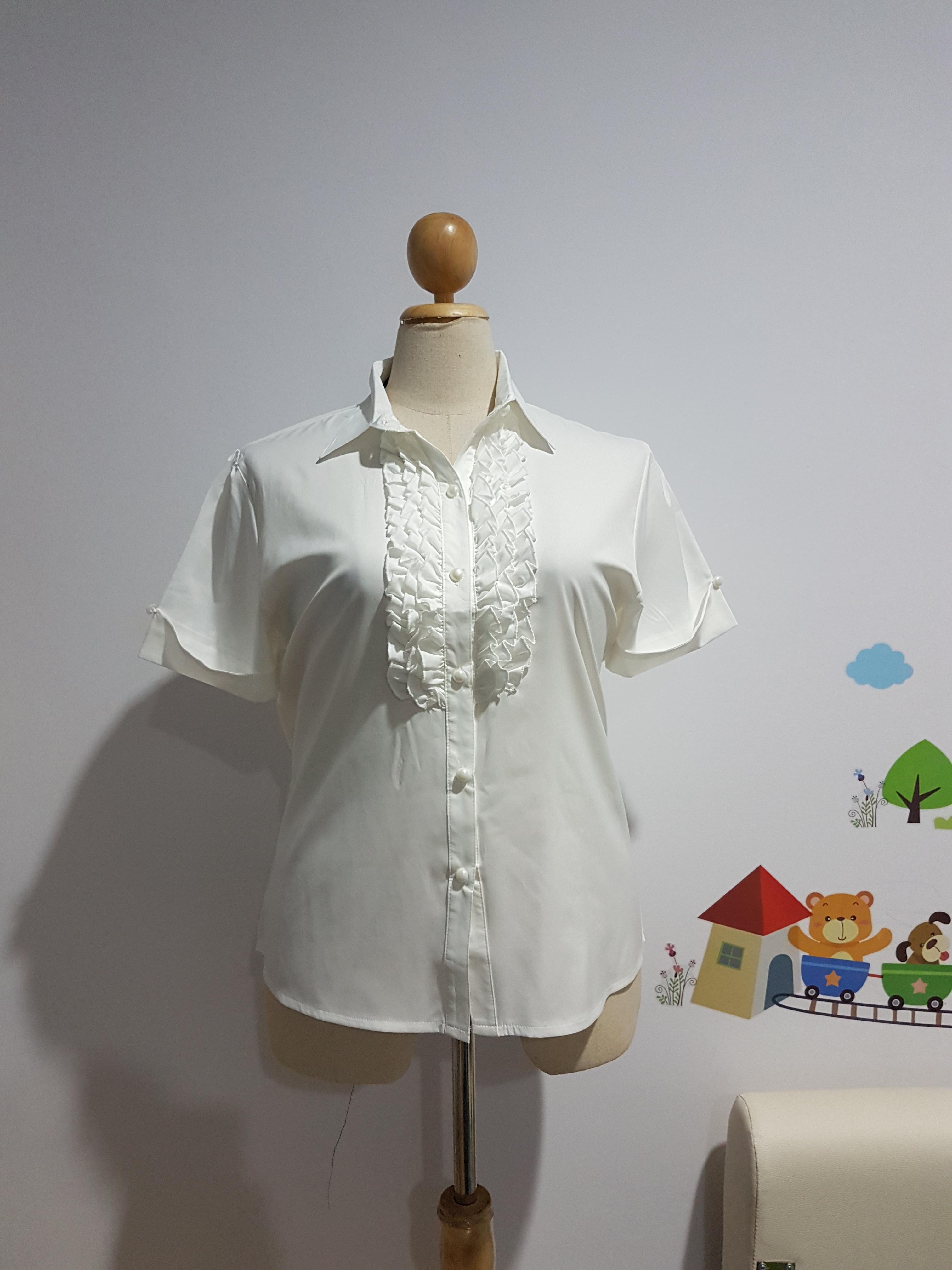 เสื้อเชิ้ต ผ้าไหมอิตาลี ตีเกล็ดซ้อน สีขาว ไซส์ XL อก 44 นิ้ว