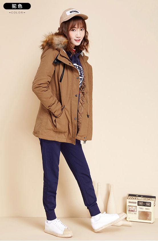 เสื้อกันหนาวผู้หญิง แฟชั่นเกาหลี มีสีน้ำตาล สีไวน์แดง สีกรม สีเขียวขี้ม้า แจ็คเก็ตมีฮู้ดบุขน มีเฟอร์ขนสัตว์ ถอดได้ แบบซิดรูดและจุดด้วยกระดุม แขนยาว มีกระเป๋าสองข้าง