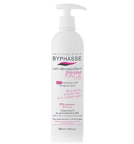 Byphasse Soft Cleansing Milk Face & Eyes All Skin Types (pump) 500ml.