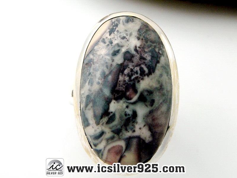 ▽โพรซีเลียน แจสเปอร์ (Porcelain Jasper) แหวนเงินแท้ 925 (แหวนเบอร์ : 62)
