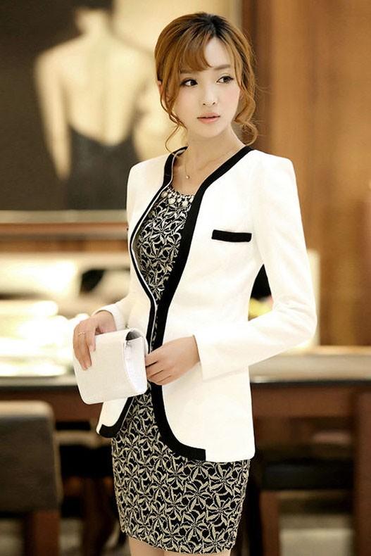 (สินค้าหมด) เสื้อสูทแฟชั่น เสื้อสูทผู้หญิง สีขาว แขนยาว แต่งขลิบสีดำ