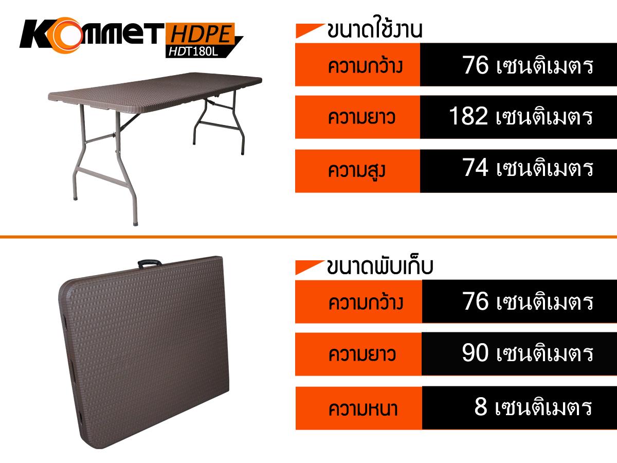 โต๊ะอเนกประสงค์พับได้ ลายหวาย KOMMET HDPE รุ่น HDT-180L