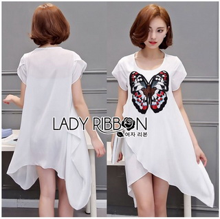 Lady Ribbon Online ขายส่งเสื้อผ้าออนไลน์เลดี้ริบบอน LR19010816 &#x1F380 Lady Ribbon's Made &#x1F380 Lady Kimberley Butterfly Embroidered Asymmetric Chiffon Long Top