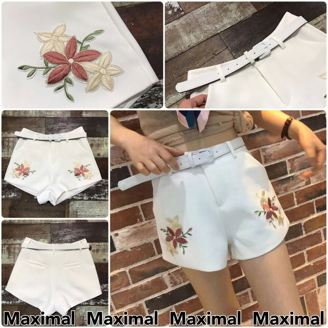 *กางเกงขาสั้นปักลายดอกไม้พร้อมเข็มขัด*
