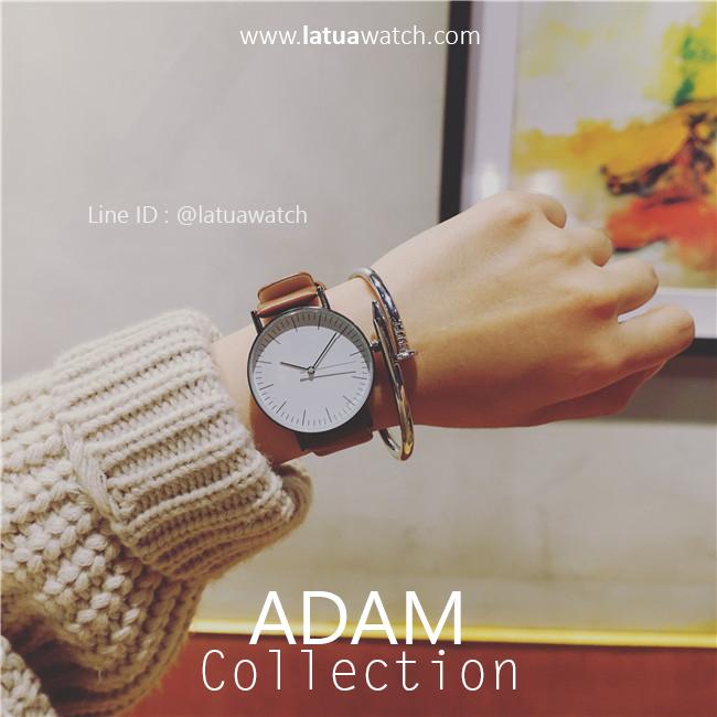 นาฬิกาข้อมือ รุ่น ADAM หน้าปัดขาว สายน้ำตาล