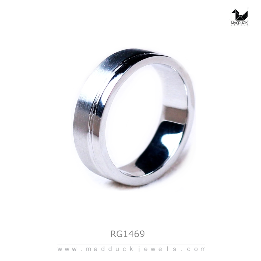 แหวนเงินแท้ ชุบทองคำขาว รุ่น RG1469 Subway Bar Plain