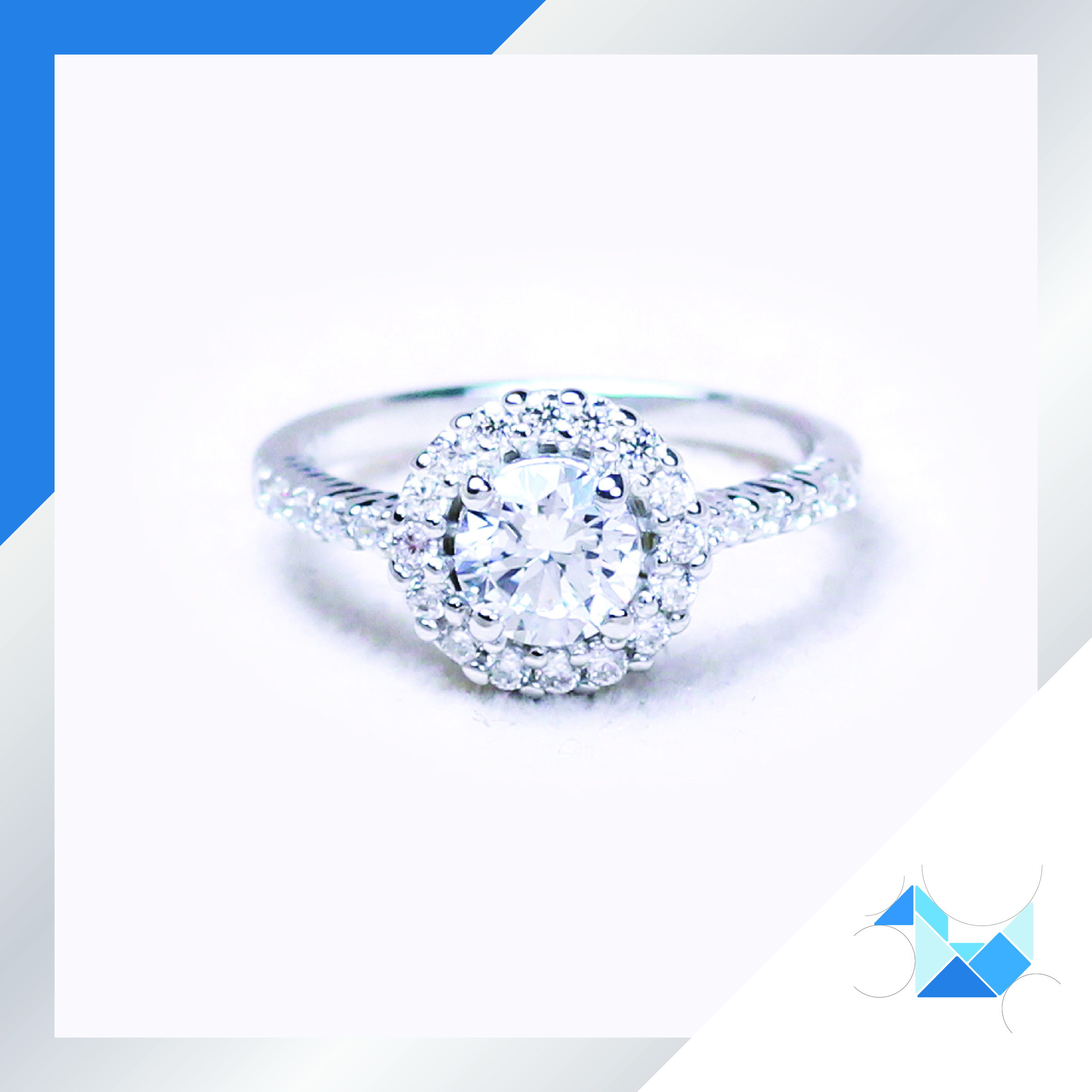 แหวนเงินแท้ เพชรสังเคราะห์ ชุบทองคำขาว รุ่น RG1563 0.60 carat Sun Rised
