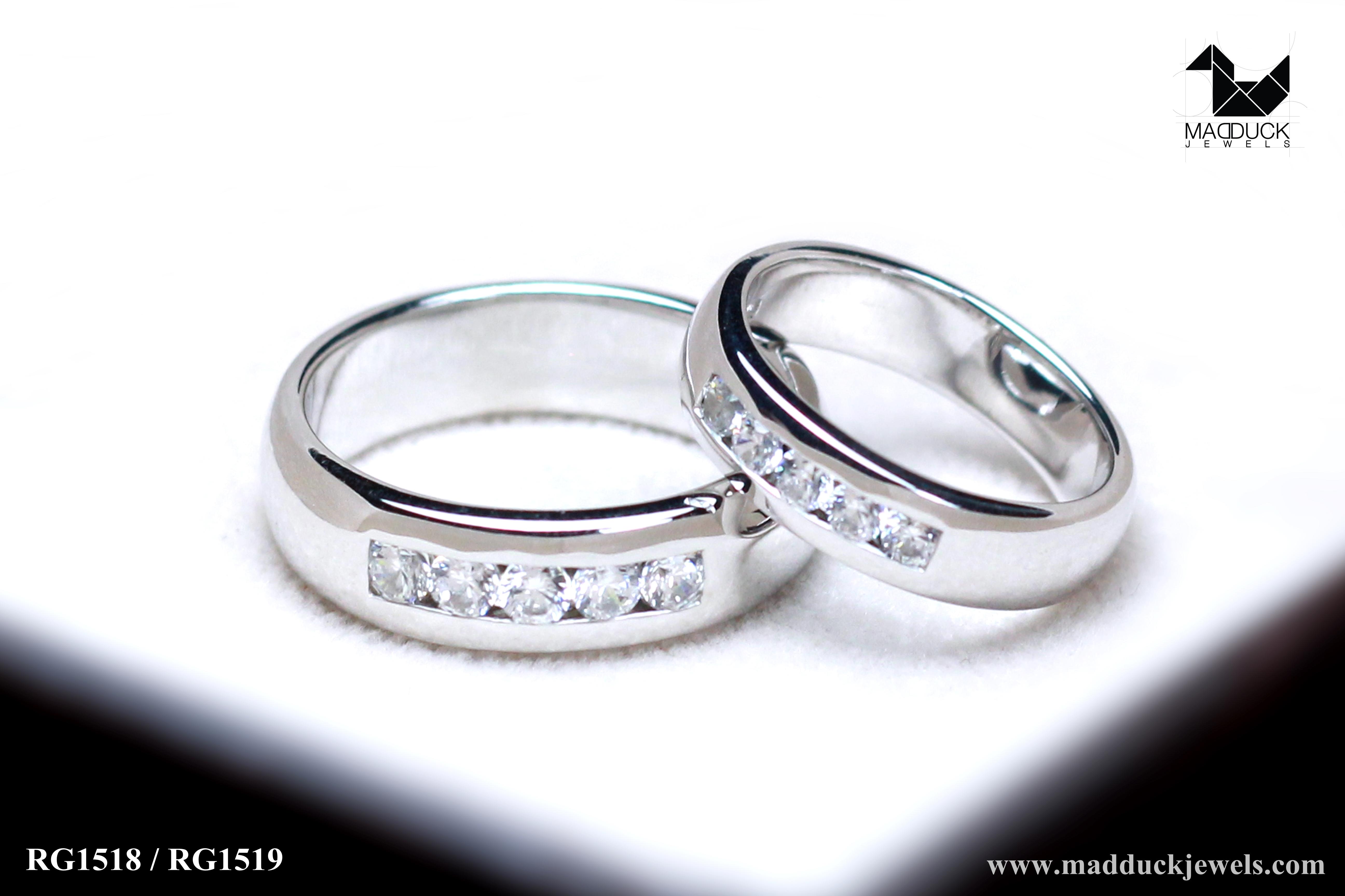 แหวนคู่รักเงินแท้ เพชรสังเคราะห์ ชุบทองคำขาว รุ่น LV15181519 Five Star