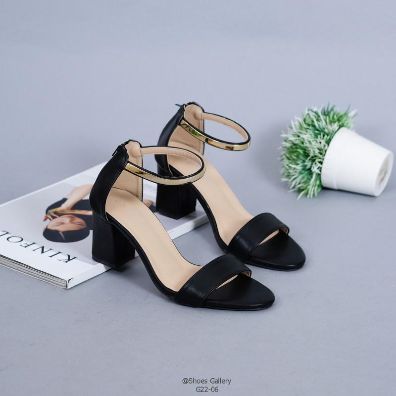 รองเท้าส้นตันรัดส้นสีดำ แต่งซิปหลัง (สีดำ )