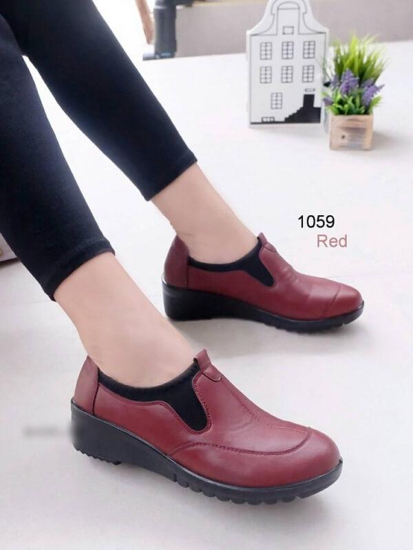 รองเท้าคัทชูเพื่อสุขภาพ สไตล์Oxford ขอบผ้ายืด (สีแดง )