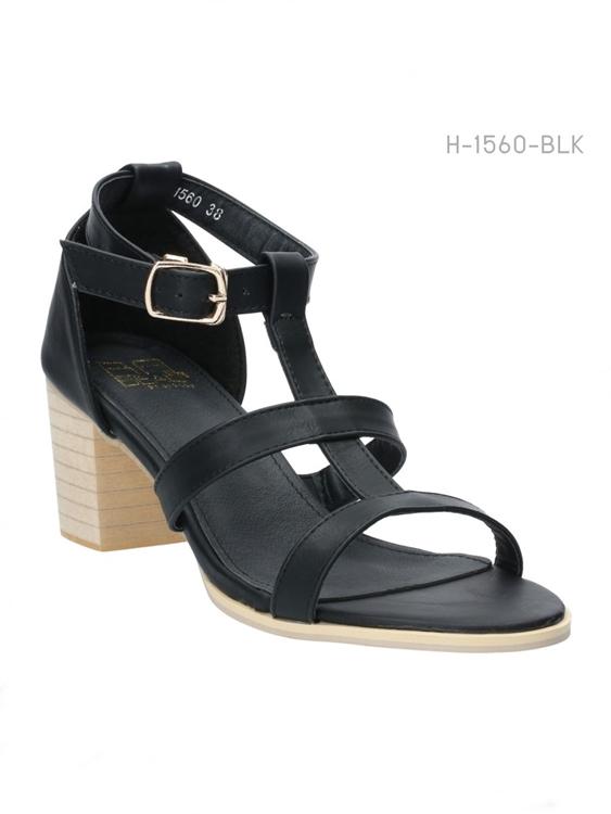 รองเท้าส้นสูงรัดข้อ สไตล์ลำลอง (สีดำ )