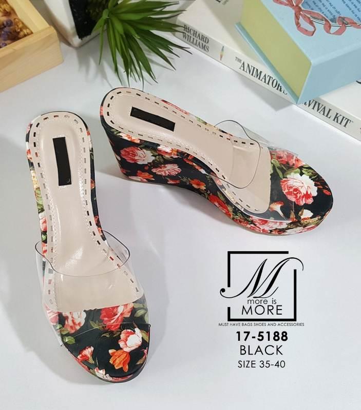 รองเท้าส้นเตารีดลายดอกไม้สีดำ สไตล์วินเทจ สายคาดพลาสติกใส (สีดำ )