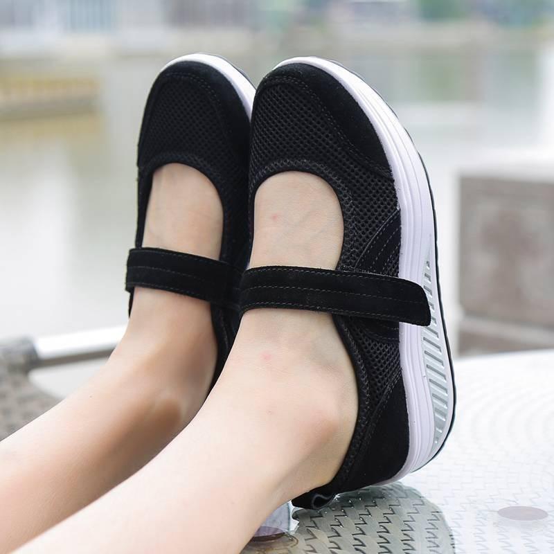 รองเท้าผ้าใบเสริมส้นสีดำ ผ้าทอตาข่าย สายรัดเมจิกเทป (สีดำ )