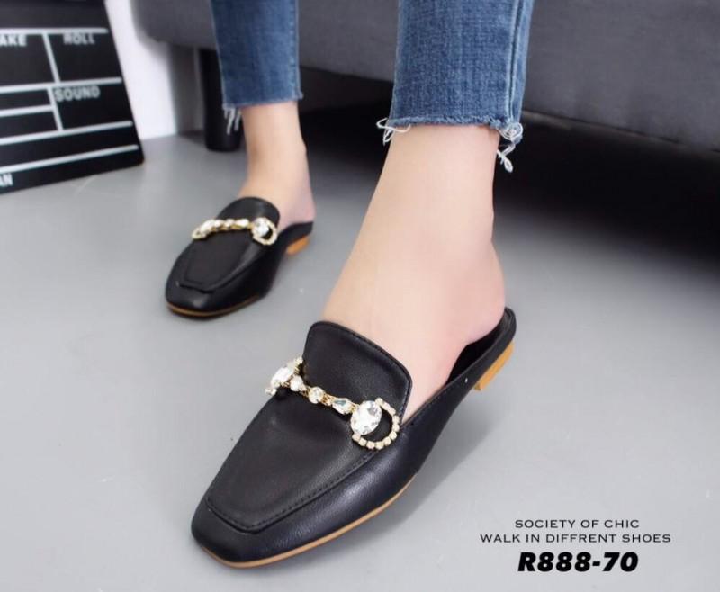 รองเท้าส้นแบนเปิดส้นสีดำ สไตล์แบรนด์ GUCCI (สีดำ )