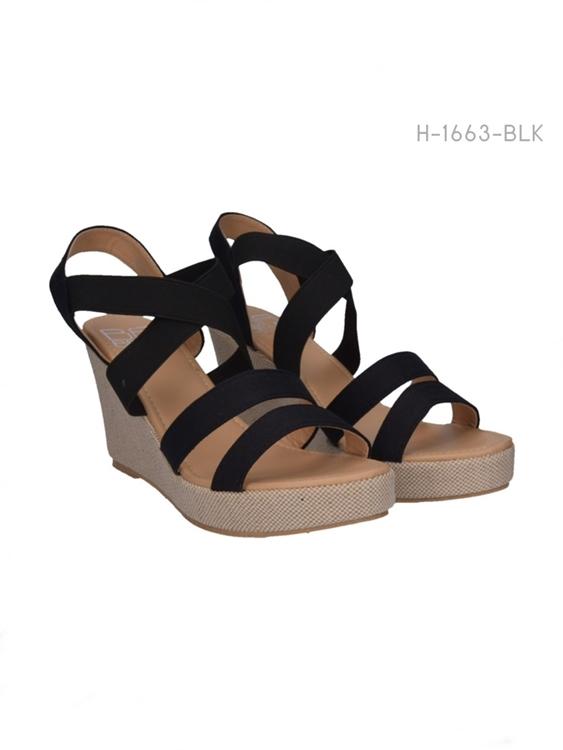 รองเท้าส้นเตารีดรัดส้น สไตล์ลำลอง (สีดำ )