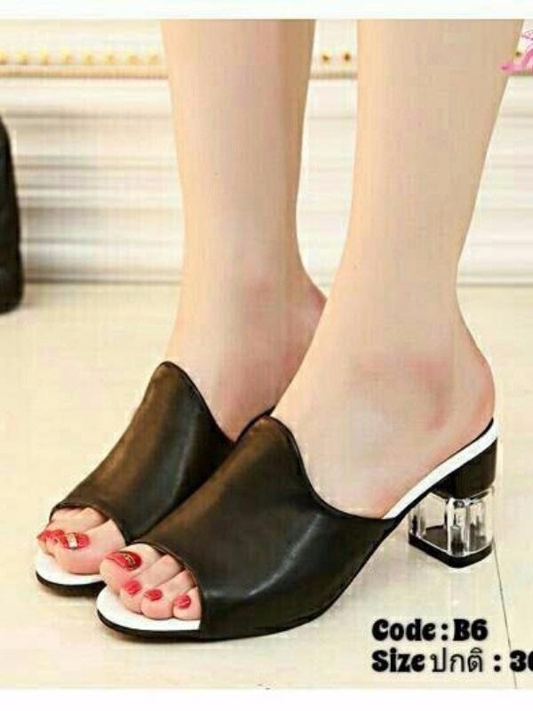 รองเท้าส้นสูงเปิดส้นสีดำ พียูนิ่ม ส้นแก้ว (สีดำ )