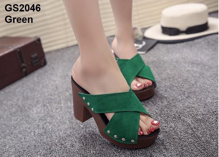 รองเท้าส้นตันเปิดส้นสีเขียว สายคาดไขว้ (สีเขียว )