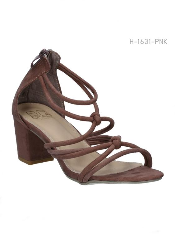 รองเท้าส้นสูงสานรัดส้น สไตล์ลำลอง (สีชมพู)