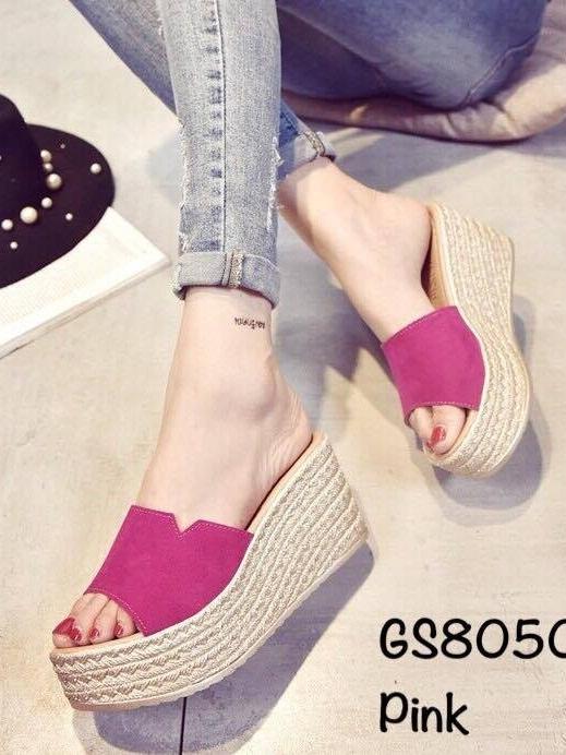 รองเท้าส้นเตารีด ทรงสวม คาดหน้าผ้าสักหราด (สีชมพู )