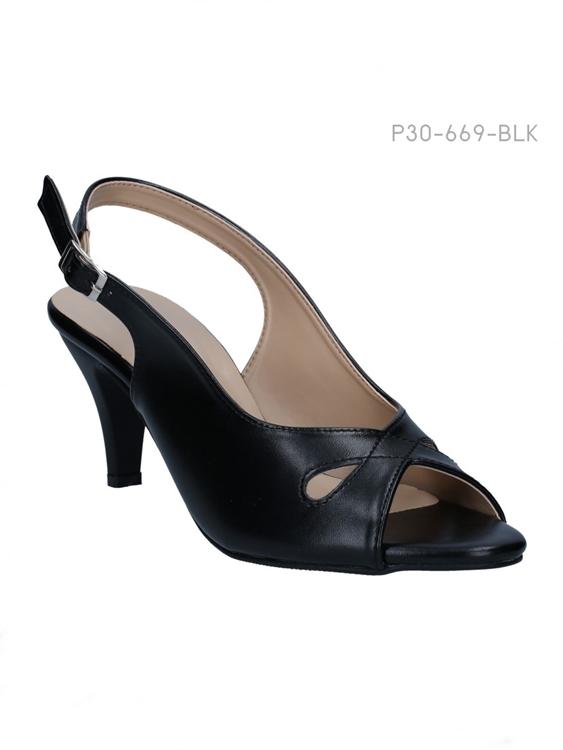 รองเท้าส้นสูงรัดส้น สไตล์เรียบหรู (สีดำ )
