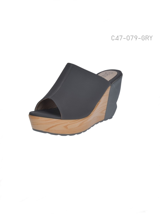 รองเท้าส้นเตารีดแบบเปิดส้น ใส่ลำลอง (สีเทา )