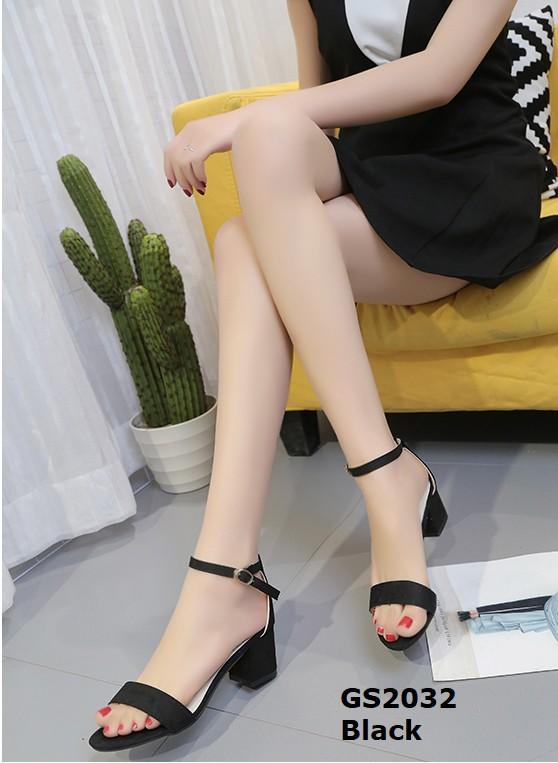 รองเท้าส้นตันรัดส้นสีดำ ผ้าสักหลาด สไตล์เรียบหรู (สีดำ )