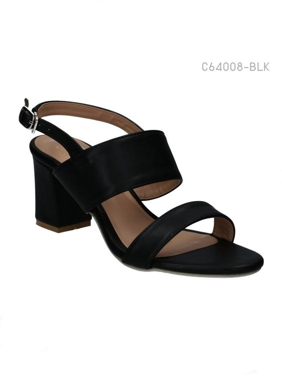รองเท้าส้นสูงรัดส้น สายคาดสองตอน (สีดำ )