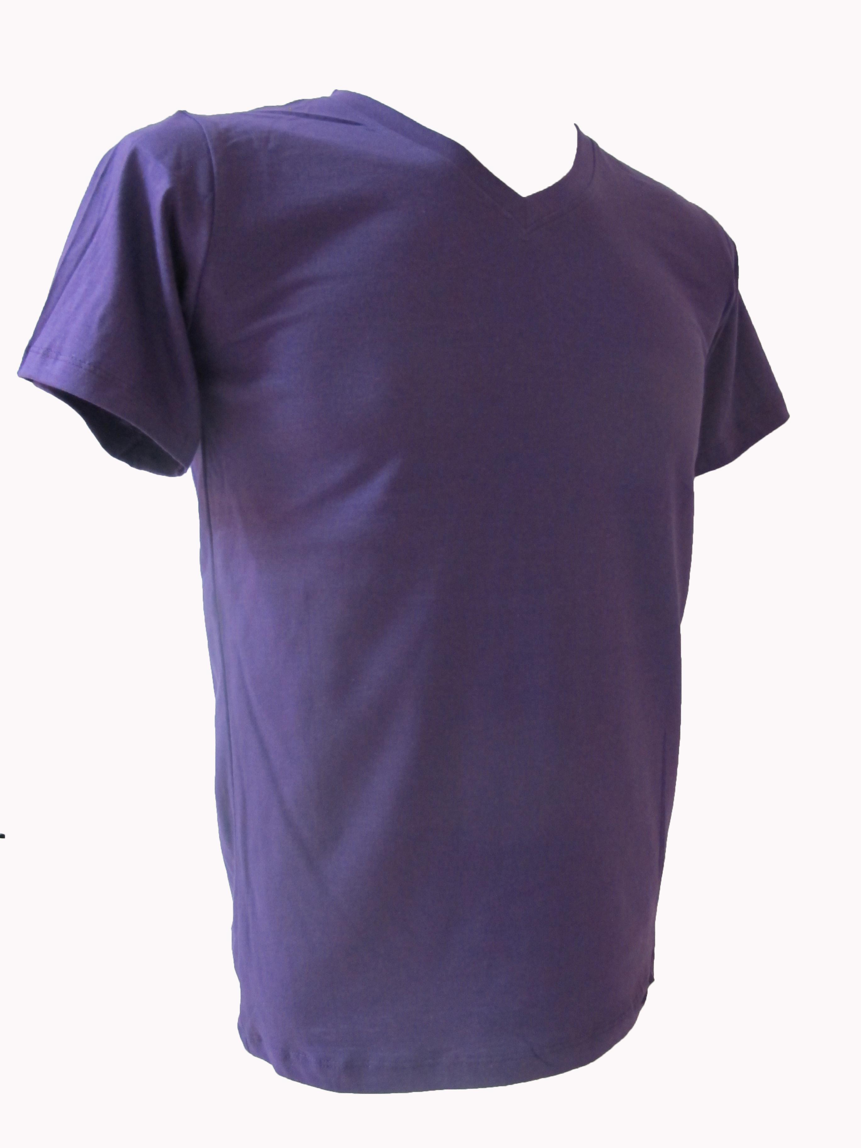 COTTON100% เบอร์32 เสื้อยืดแขนสั้น คอวี สีม่วง