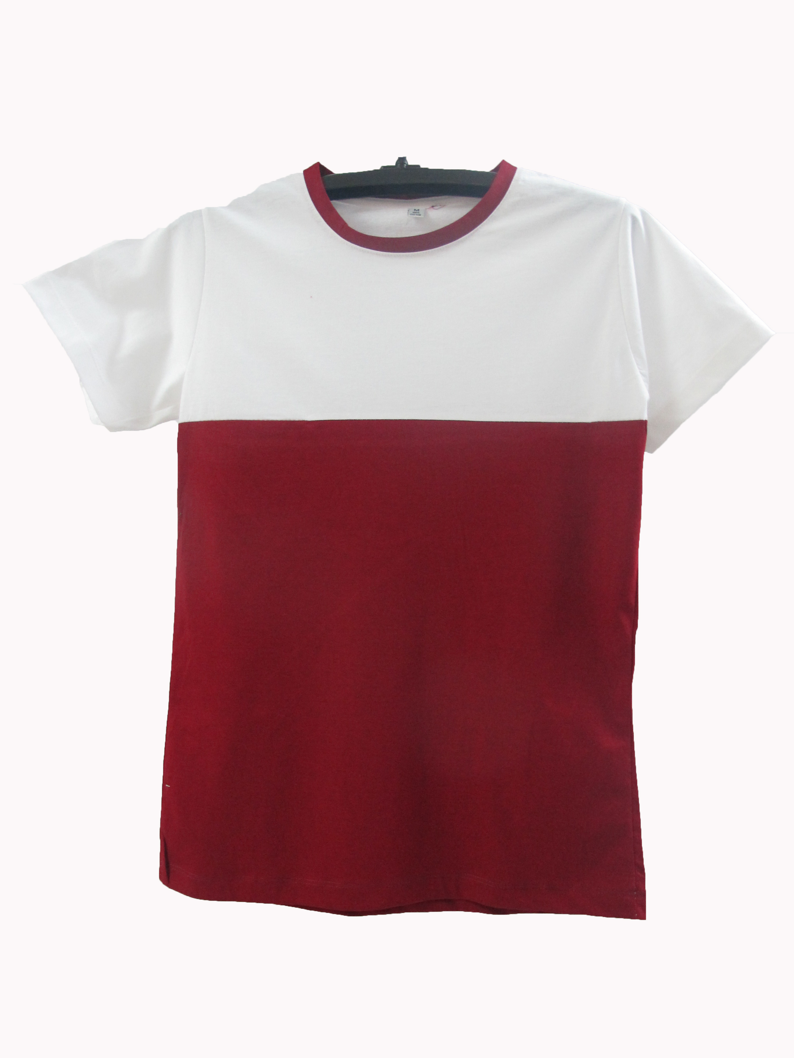 เสื้อตัดต่อข้างบนขาวข้างล่างสี สีเลือดหมู