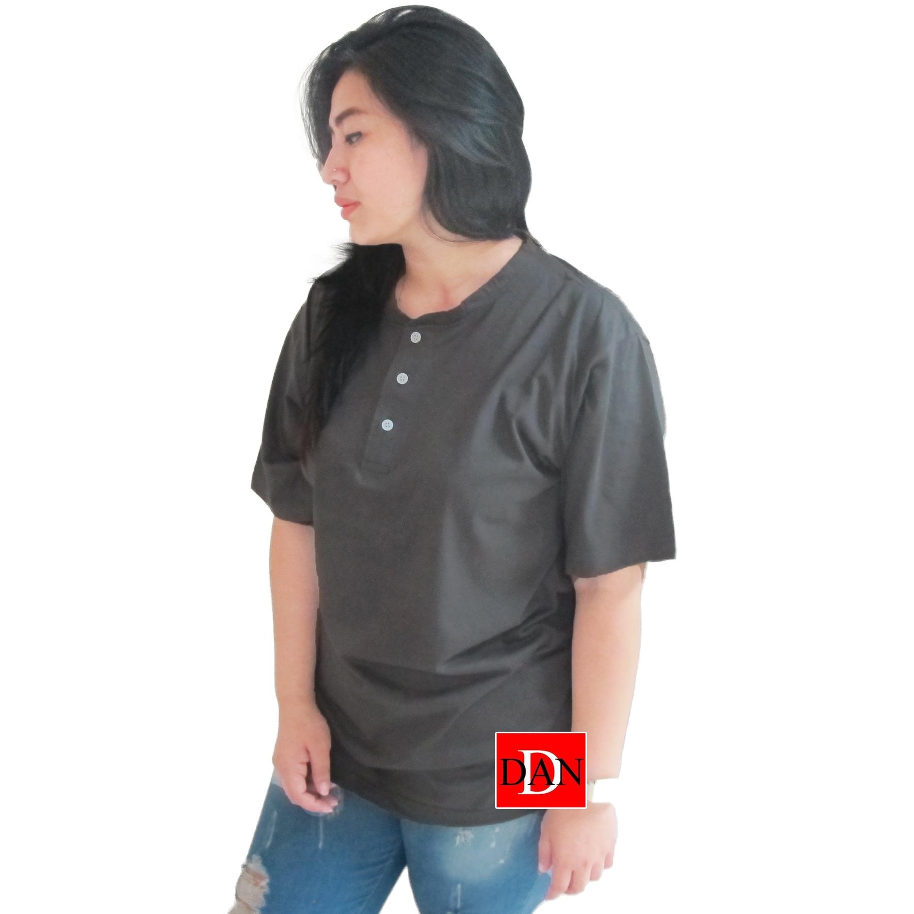 เสื้อยืดคอจีน Cotton100% XL สีเทาดำ
