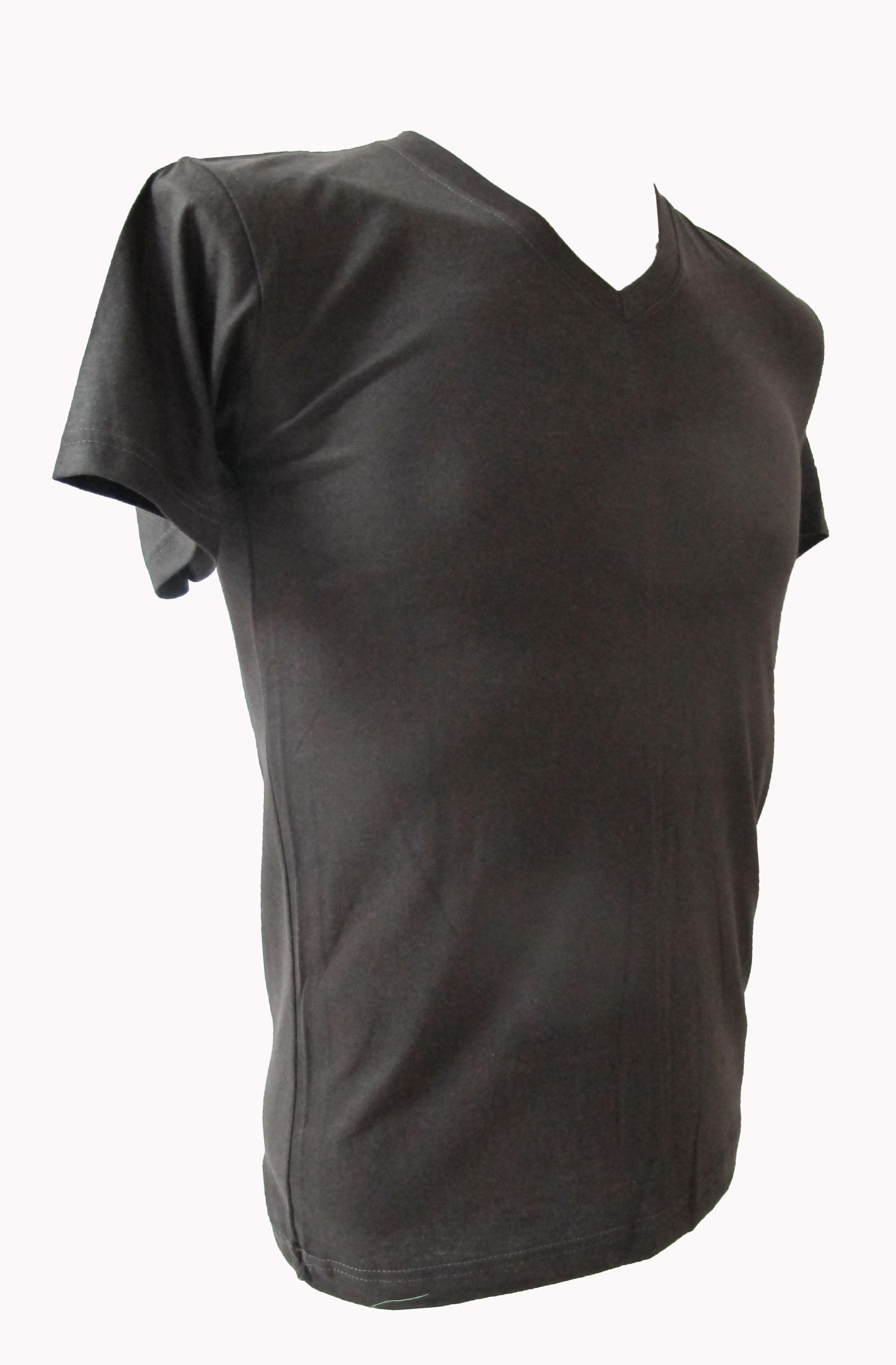 COTTON100% เบอร์32 เสื้อยืดแขนสั้น คอวี สีเทาดำ