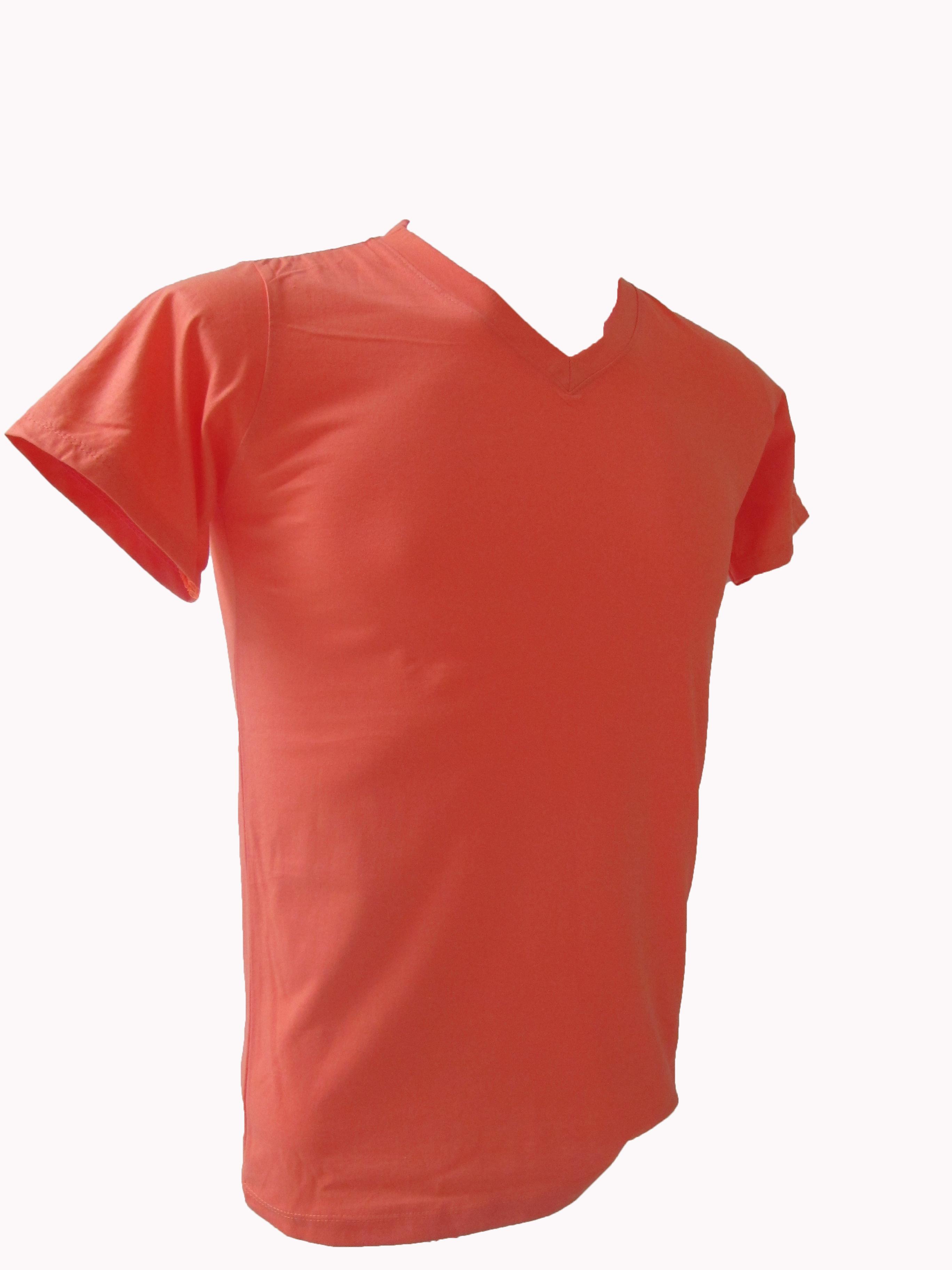 COTTON100% เบอร์32 เสื้อยืดแขนสั้น คอวี สีโอรส