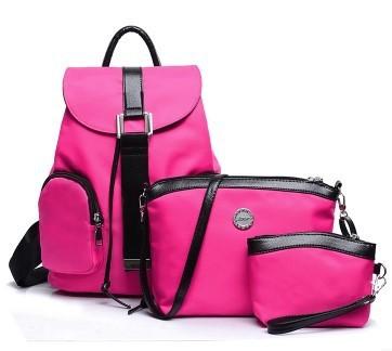 พร้อมส่ง กระเป๋าผู้หญิง เป้ผ้าสะพายหลัง เช็ต 3 ใบ แฟชั่นเกาหลี Fashion bag รหัส NA-548 สีบานเย็น