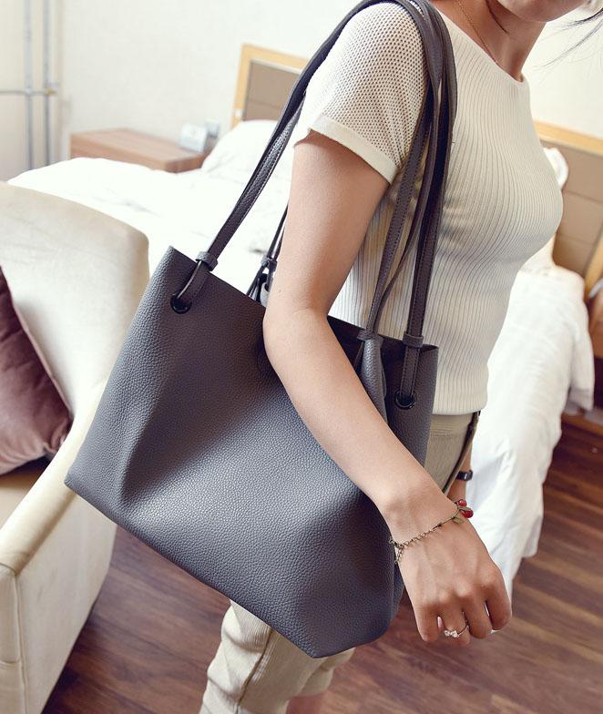 พร้อมส่ง กระเป๋าผู้หญิงสะพายใบใหญ่ แฟชั่นเกาหลี เช็ต 2 ใบ TIANCAI BAG รหัส C-236-2 สีเทาเข้ม