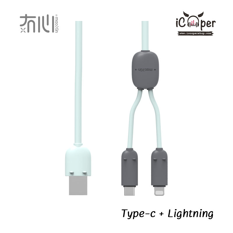 MAOXIN Two Line Charger Cable - Green (Lightning + USB Type-C)