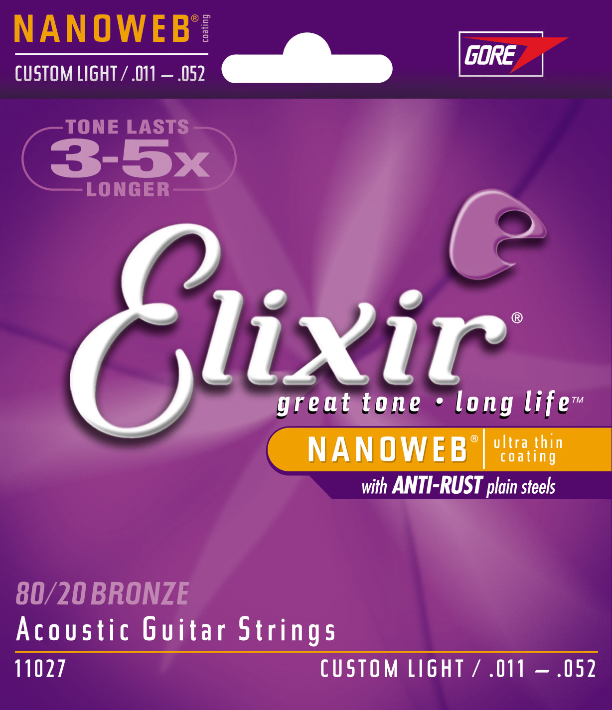 สายกีตาร์โปร่ง Elixir 80/20 Bronze Nanoweb Anti-Rust, Custom light, 11-52